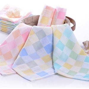 25*25cm Cotton Gauze Grid Handkerchief Soft Napkin Face Towel