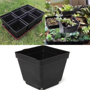 3,5 tum svart plast kvadratplantor blomkrukor trädgårdsskötsel krukor