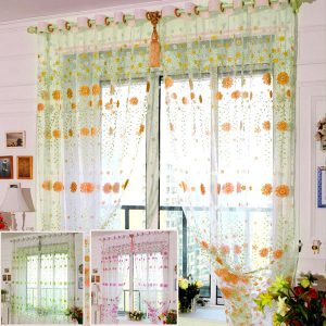 100x200cm Chrysanthemum Voile Window Screening Balcony Bedroom Window Curtain