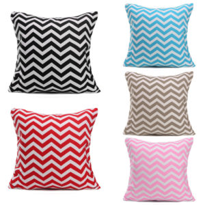 43cm x 43cm Wave Stripes Print Linen Cushion Cover Sofa Cotton Pillow Cases