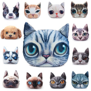 2 Sizes Plush Creative 3D Dog Cat Throw Pillows Meow Star Sofa Bed Cushion