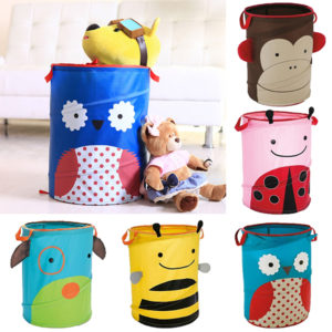 34x45cm Foldable Laundry Storage Basket Bathroom Cartoon Clothes Pants Bag