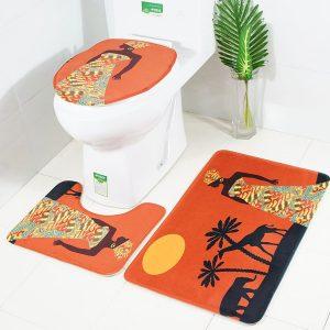 3-delad badrumsmatto Toalettmatta och sätesskydd Toiletseat Nemo badtäcke Halkskydd
