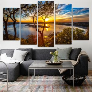 5 Panel Canvas målning Sunset Lake Tree Seascape Landskap Poster Utskrift Wall Art Decor Bild