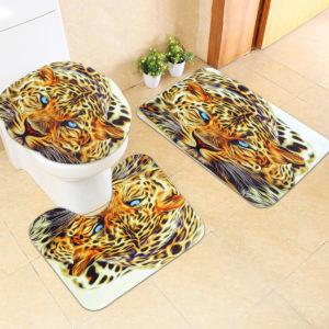 3PCS Leopard Panttern Home Bathroom Anti-slip Carpet Pad Rug Toilet Seat Covers Mat Set
