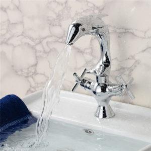Creative Dolphin Shape Double Handle Basin Sink Mixer Tap Chrome Finish Faucet