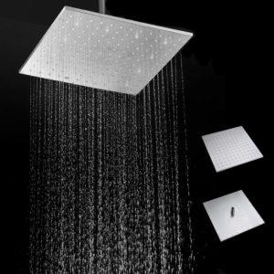 16 '' 250MM 304 rostfritt stål regndusch duschhuvud fyrkantigt tunt smal regnduschdusch
