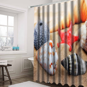 180 x180cm Conch Starfish Beach With 12 Hooks Bathroom Shower Curtain