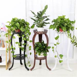 Retro Flower Stand Chic Indoor Garden Metal Plant Holder Display Planter Vase