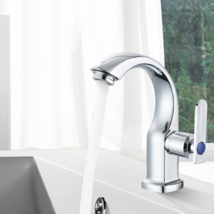 Bathroom Basin Sink Faucet Moon Curved Cold Tap Single Handle Electroplate Chrome Finish Deck Mount