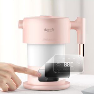 Deerma DEM-F300 100-240V rosa digital skärm fällbar bärbar elektrisk vattenkokare för resor