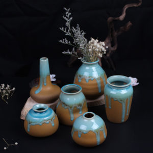 Zakkz Glaze Ceramic Vase Ornaments Handmade Aroma Bottle Flower Arrangement Pottery Decor Gift
