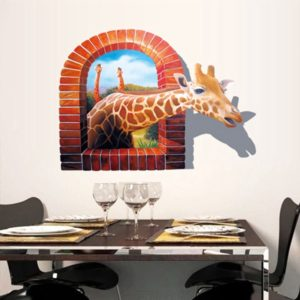 3D Wall Decal Removable Giraffe Wall Stickers Home Wall Background Decoration