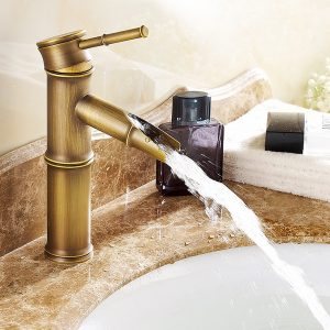 Bamboo Vintage Bronze Bathroom Basin Sink Faucet Hot and Cold Water Deck Mount Mixer Tap