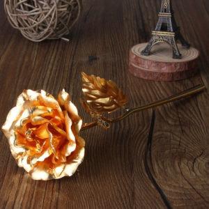 224k guldfoliepläterad rosaguldbladrosbröllopstillbehör Alla hjärtans dag Födelsedag Nyår Presenter Dekorativa blommor