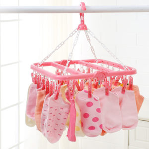 32Clip Portable Socks Cloth Hanger Rack Clothespin Multifunctional Drying Rack Sock Holder