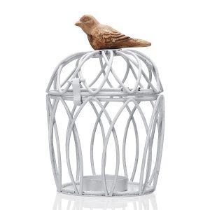 Medelhavsstil Fågelbur Ljushållare Smidesjärn Ljusstake Vintage bröllopsmycken