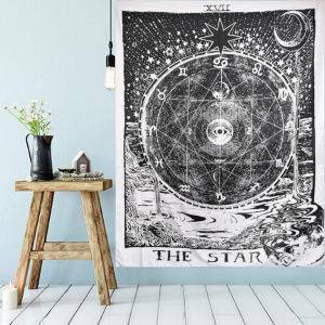 210 cm Sun Star Moon Tarot Tapestry Hippie Wall Hanging Filtrum Heminredning