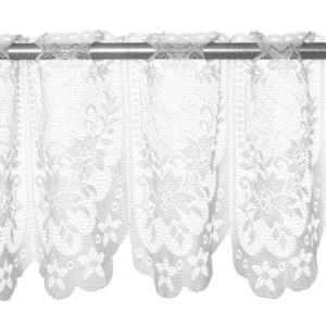 Elegant White Lace Coffee Cafe Window Tier Curtains Kitchen Dining Room Home Decor Set