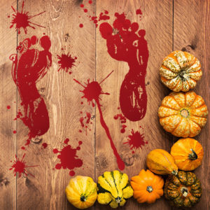 Creative 3D Halloween Blood Footprint Wall Sticker Window Bar Haunted House PVC Removable Background Wall Stickers Home Living Room Decor Adhesive Poster Bar KTV Wallpaper PVC Wall Decals