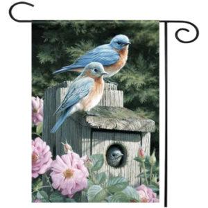 28''x40'' Bluebirds Spring Season Welcome House Garden Flag Yard Banner Decorations