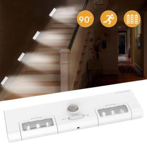 [Batteridrift] KCASA KC-LT1 LED Trådlös PIR rörelsessensor Skåp Skåp Ljuslampa 6 LED 90 Ljusvinkel för hem / garage / ingång / hall / källare