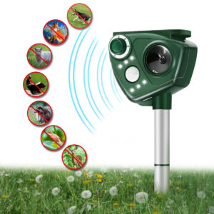 6 LED Solar Ultrasonic Animal Repeller PIR Motion Adjustable Frequency Repellent