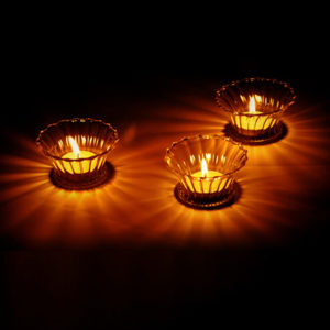 Transparent Flower Candle Holder Round Shape Glass Candlestick Wedding Home Decor