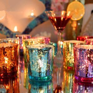 Färgglada Glass Cup Candle Stick Ljushållare Candelabra Romantisk gåva för hembröllopsdekor