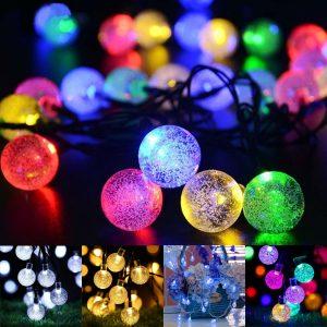 21ft solenergi stränglampor 30 kristallkulor utomhus LED LED fairy dekorationer