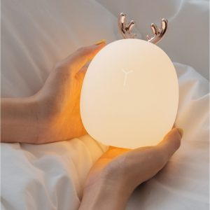 3life Rabbit Fawn Silicone LED Night Light Warm White Light USB Charge Childern Desk Bunny Night Lamp