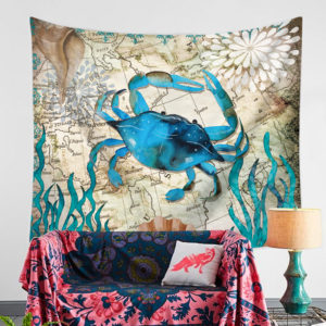 Blue Crab Tapestry Wall Art Hanging for Bedroom Living Room Dorm Wall Blankets