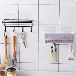 Self-adhesive Wall Hanging Storage Rack Hook Shelf Home Kitchen Organizer Holder