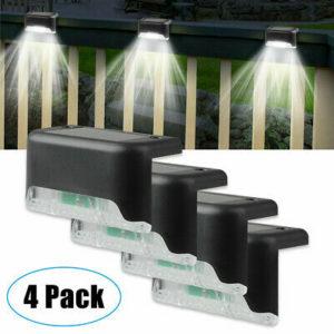 4 Solar LED Bright Deck Lights Outdoor Garden Patio Railing Decks Path