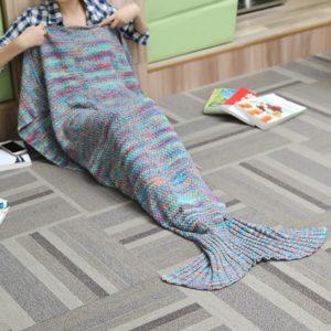 180X90CM 2 färg garn stickning sjöjungfru svans täcke luftkonditionering filt säng matta sömn väska