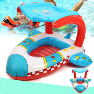 Inflatable Toddler Baby Swimming Ring Plane Float Kid Swimming Pool Seat with Canopy