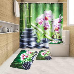 180x180 CM Bambu Pebble Orchid Toalettmatta Matta Duschgardin med krokar