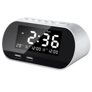 Bakeey Dual USB LCD Digital Snooze Sleep Dimmer Alarm Clock For Bedrooms with Fm Radio