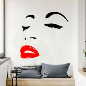 Miico FX1258 Red Lip Beauty Girl Wall Sticker Wall Art Home Decoration Stiker