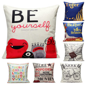 43x43cm Colorful World Map Fashion Cotton Linen Pillow Case Home Sofa Seat Bed Car Cushion Decor