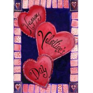 12,5''x18 '' 3 hjärtan för alla hjärtans dag trädgårdsflagga Love Heart Banner Decorations