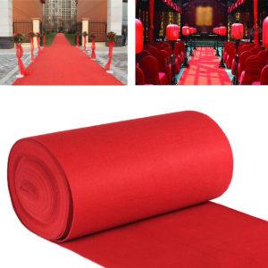 10 m / 15m VIP Red Carpet Runner Party Dekoration Bröllop Ganggolv Disponibel Entré Scene Carpet