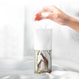 LyRay-T06 Usb Charging Night Light Function Air Humidifier Aromatherapy 3D Embossed Humidifier for Car Desktop - White
