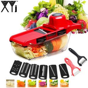 XYJ CCFG8901 Multifunktion Grönsaksfräs Stålblad Mandoline Skivor Potatisskalare Morotost Riven Grönsaksskivningsverktyg