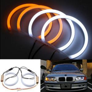 131mm bomull ljusvit bärnsten ängel öga halo ring DRL för BMW E36 E38 E39 e46 bilbelysning