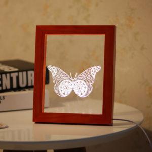 KCASA FL-717 3D Photo Frame Illuminative LED Night Light Wooden Butterfly Desktop Decorative USB Lamp For Bedroom Art Decor Christmas Gifts