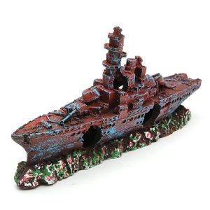 Akvarium Destroyer marin krigsbåt fartyg vrak Ornament för fisk tank grotta
