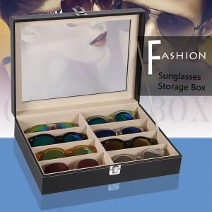 8 Grid Eye Glasses Case Eyewear Sunglasses Display Box Storage Holder Organizer
