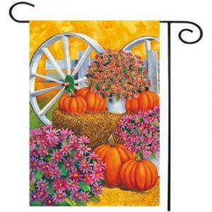 28'' x 40'' Pumpkin Wagon Wheel Fall Autumn Decorative House Flag Large Banner Decorations