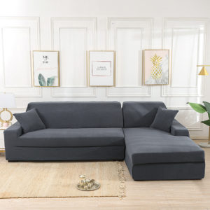 Grey Stretch Elastic Sofa Cover Solid Non Slip Soft Slipcover Washable Couch Furniture Protector for Living Room